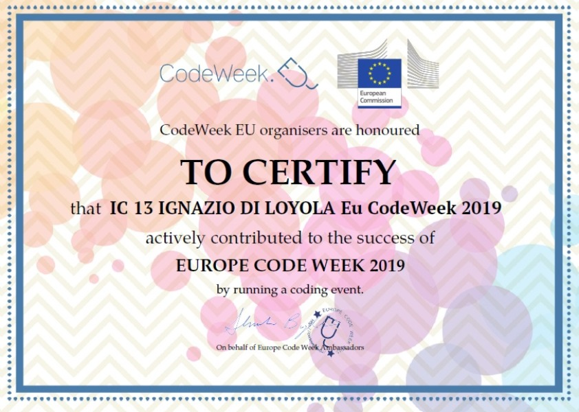 Attestato Eu Code Week 2019